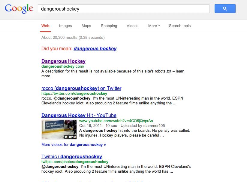 Did NHL's Labor Issues cause Google to BAN Dangeroushockey.com? (1/2)